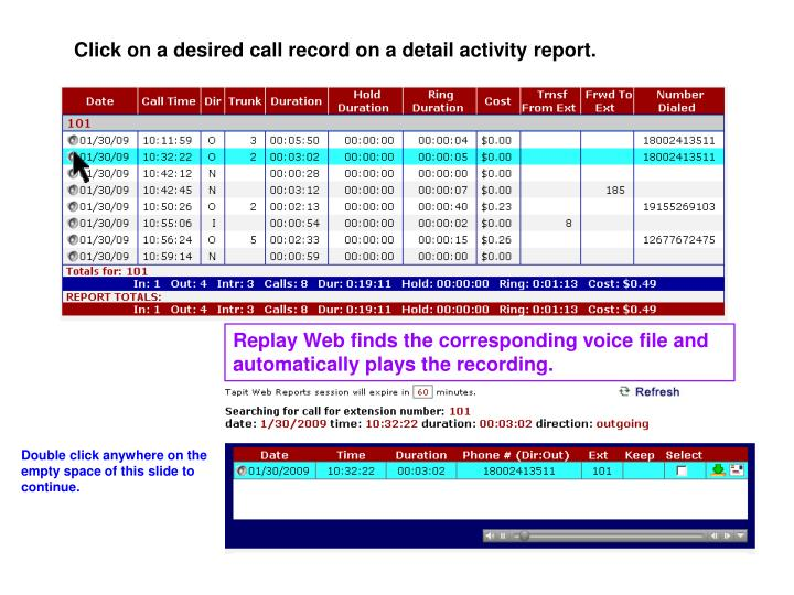 Click on a desired call record on a detail activity report.