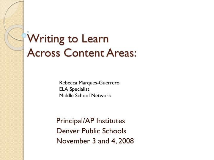 writing to learn across content areas n.