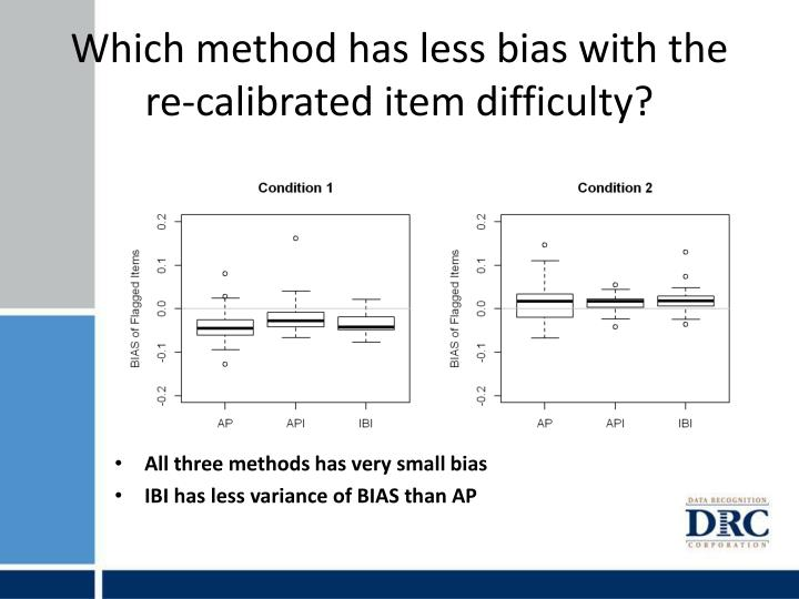 Which method has less bias with the re-calibrated item difficulty?
