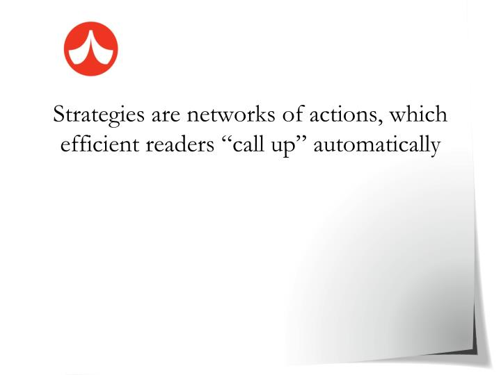 "Strategies are networks of actions, which efficient readers ""call up"" automatically"