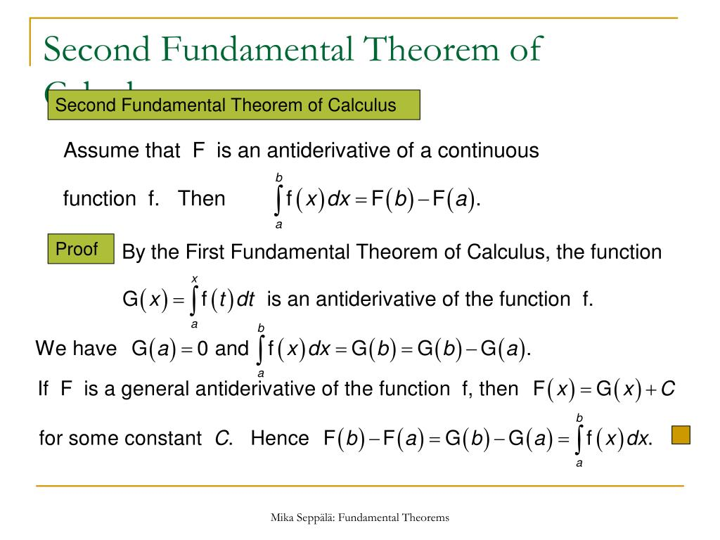 PPT - Fundamental Theorems of Calculus PowerPoint