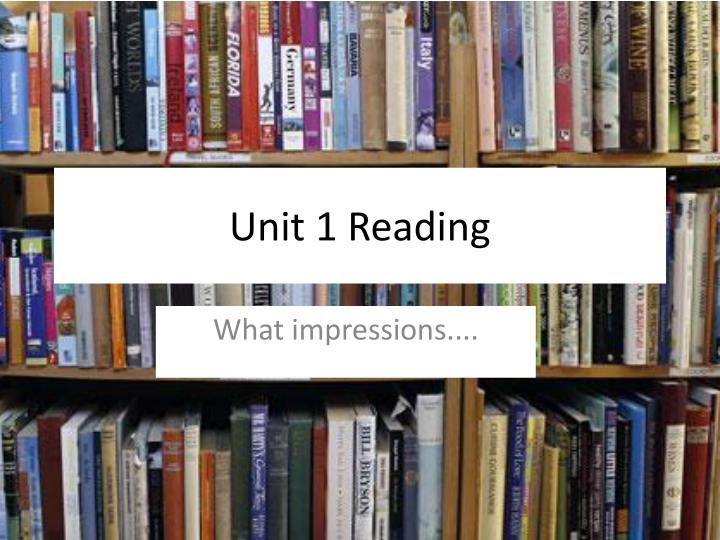 learning unit 1 reading