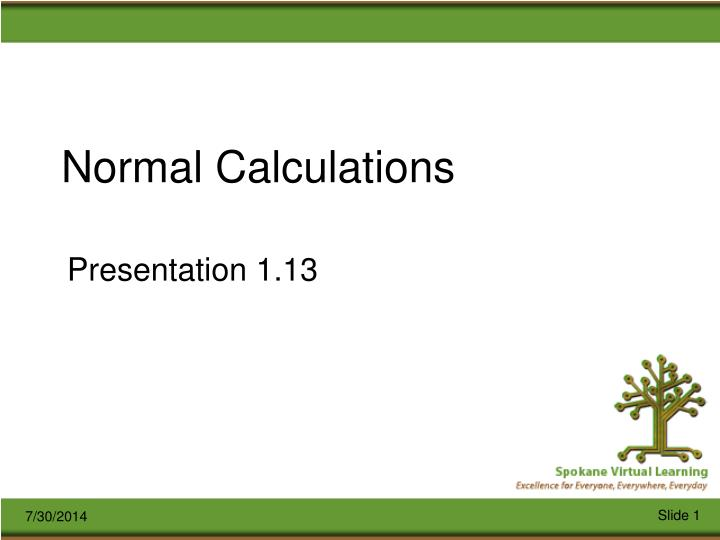 normal calculations n.