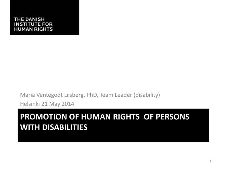 promotion of human rights of persons with disabilities n.