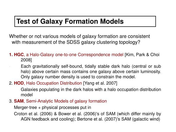Test of Galaxy Formation Models