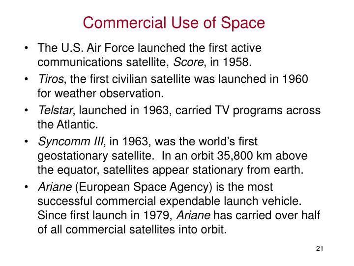Commercial Use of Space