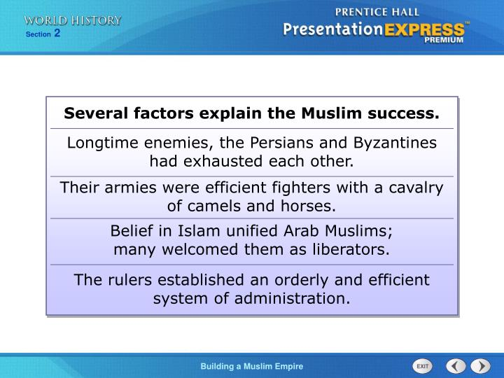Several factors explain the Muslim success.