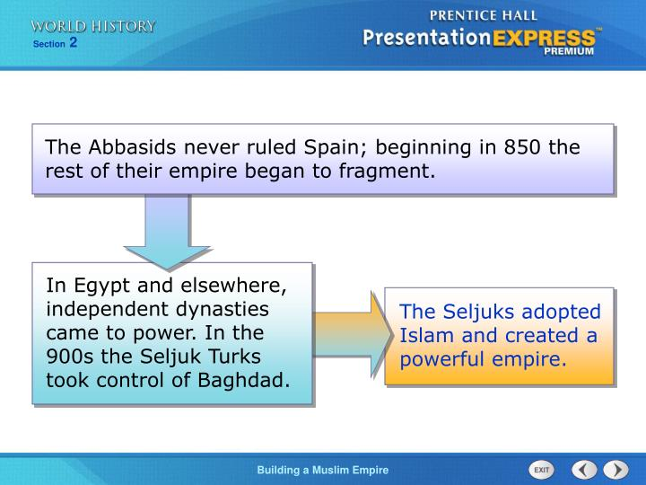 In Egypt and elsewhere, independent dynasties came to power. In the 900s the Seljuk Turks took control of Baghdad.