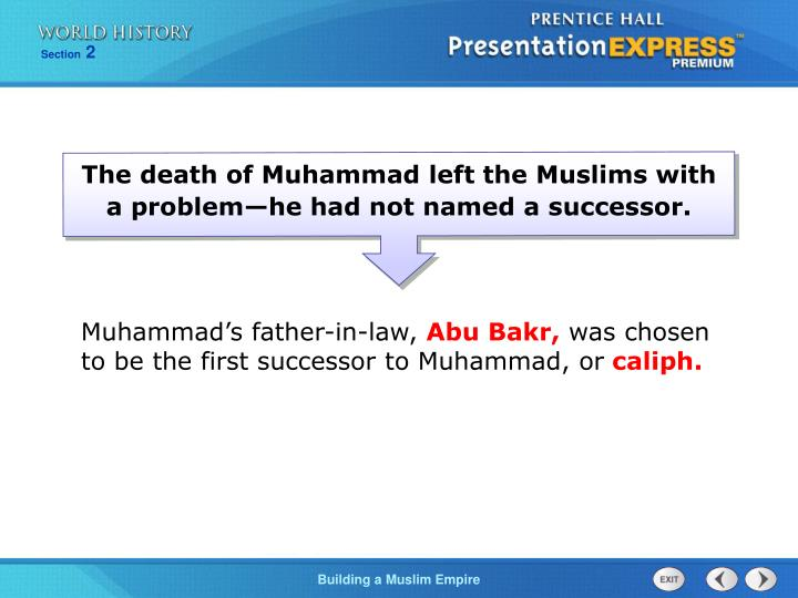 The death of Muhammad left the Muslims with