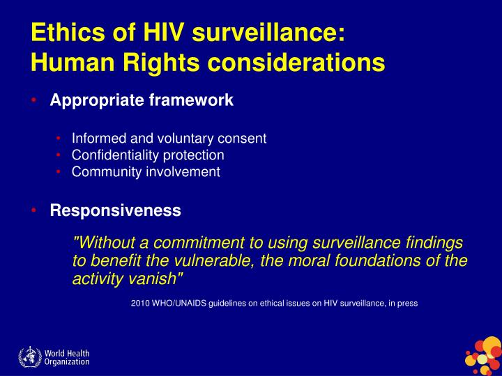 Ethics of HIV surveillance: