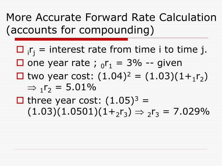 More Accurate Forward Rate Calculation (accounts for compounding)