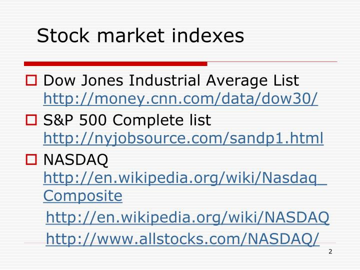 Stock market indexes