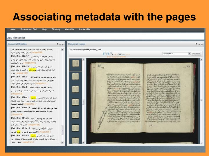 Associating metadata with the pages