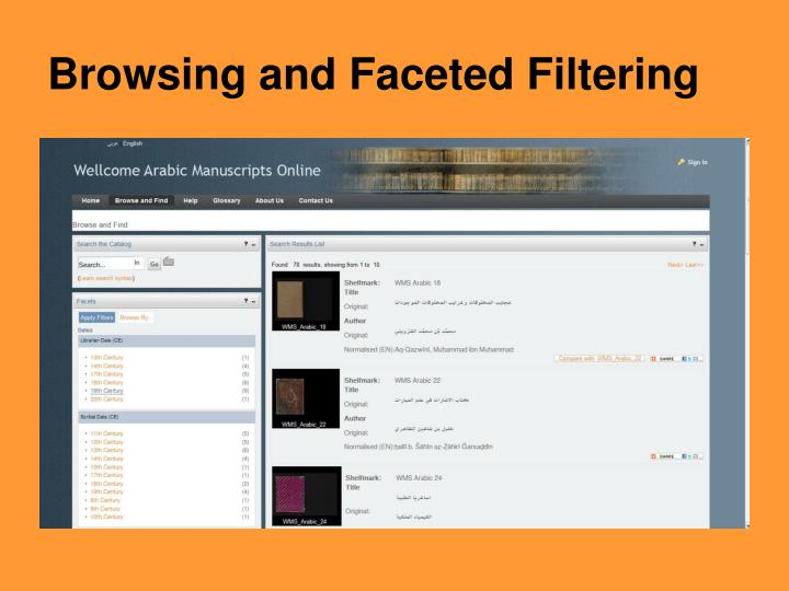 Browsing and Faceted Filtering