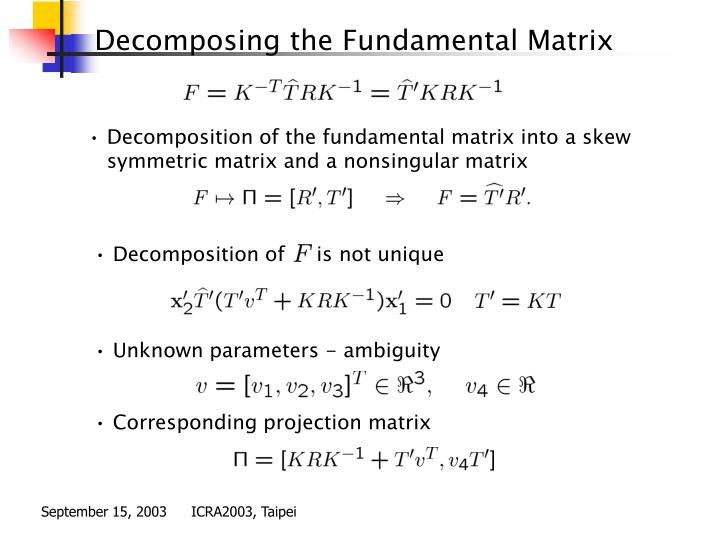 Decomposition of the fundamental matrix into a skew