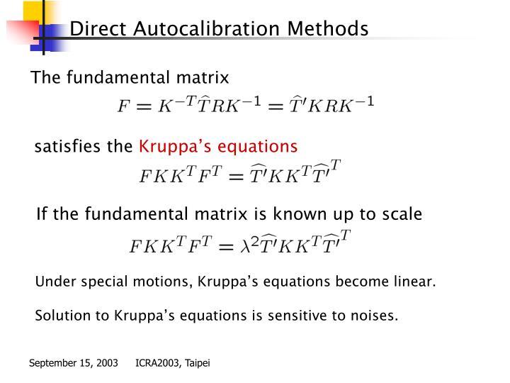 Direct Autocalibration Methods