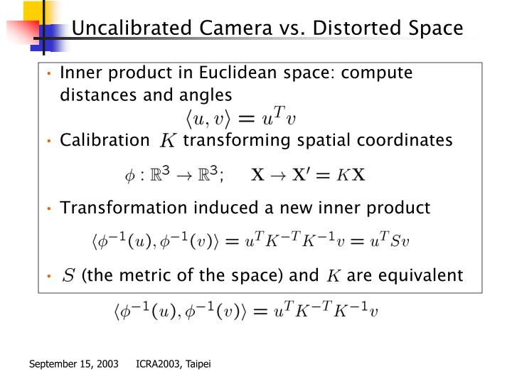 Uncalibrated Camera vs. Distorted Space