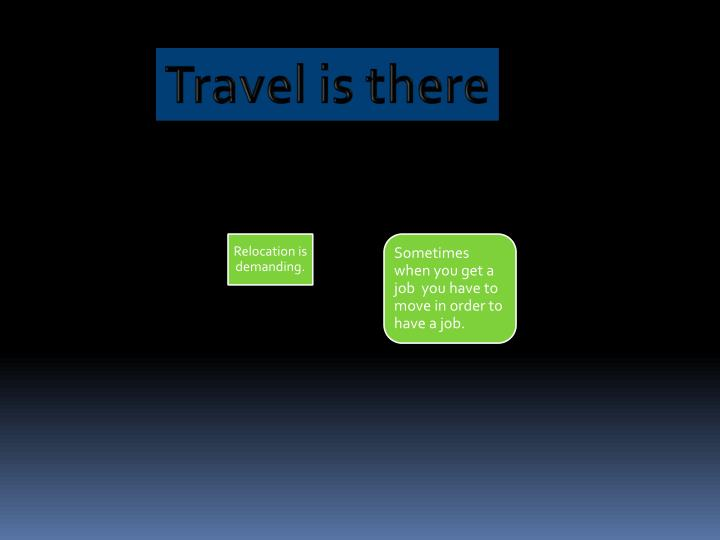 Travel is there