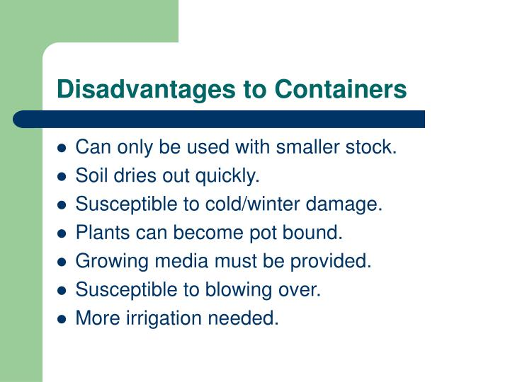 Disadvantages to Containers