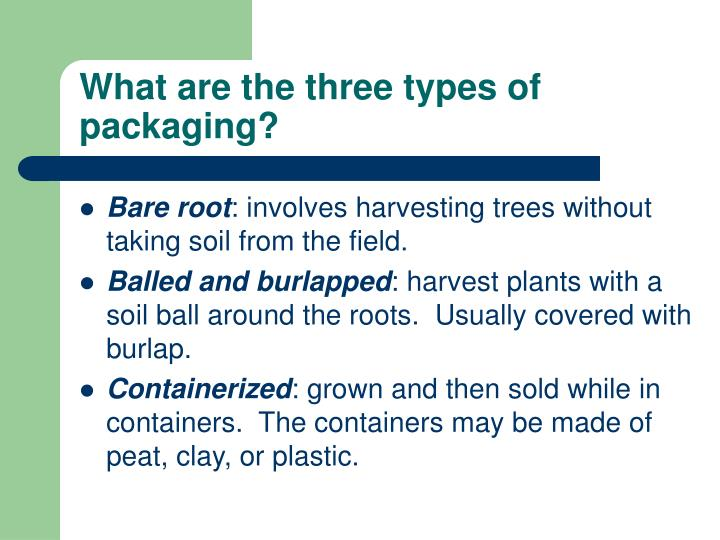 What are the three types of packaging?