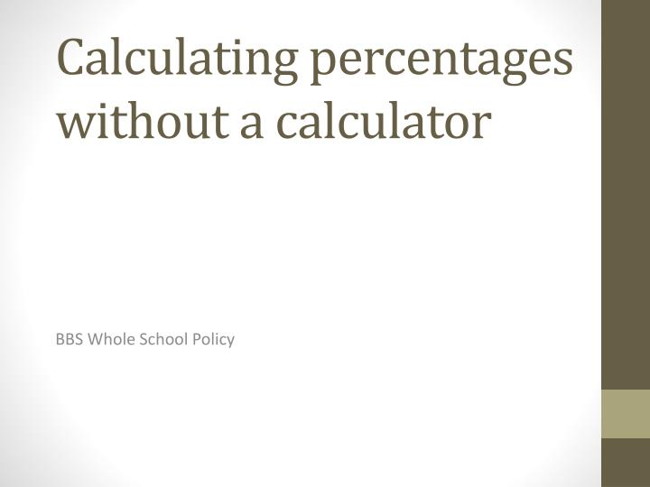 calculating percentages without a calculator n.