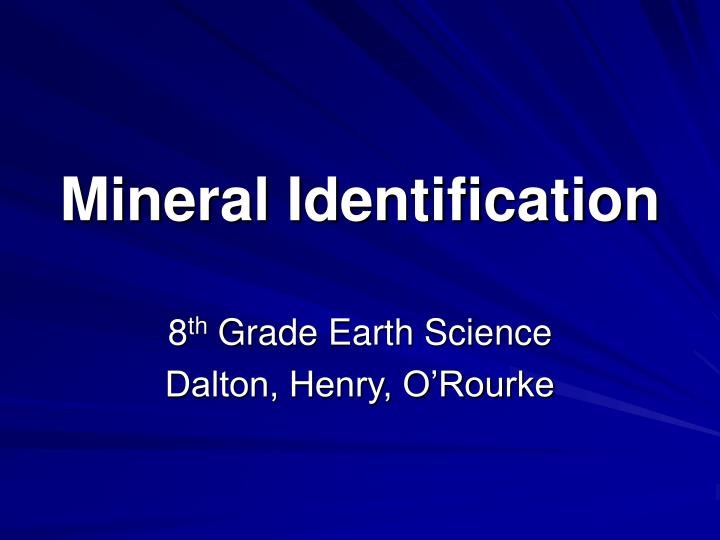 mineral identification n.