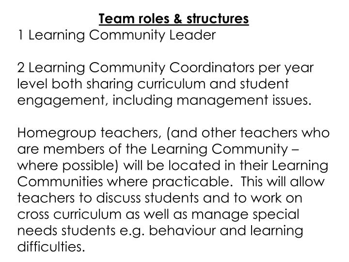 Team roles & structures