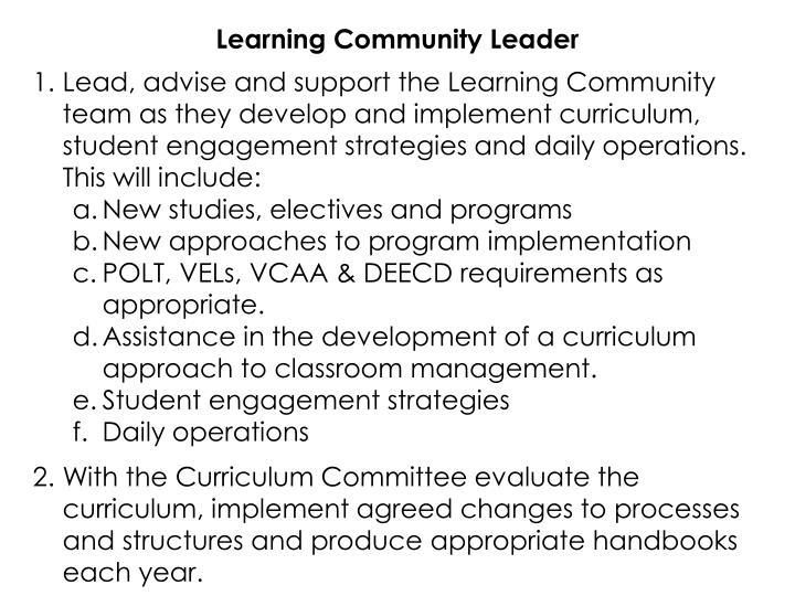 Learning Community Leader