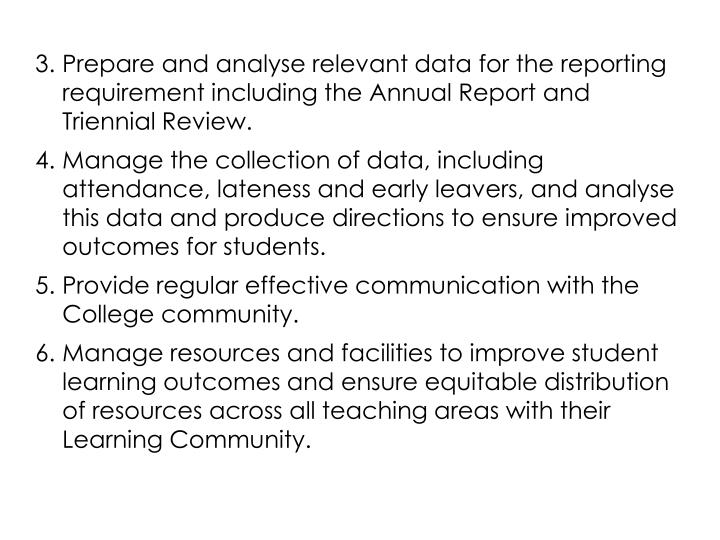 Prepare and analyse relevant data for the reporting requirement including the Annual Report and Triennial Review.