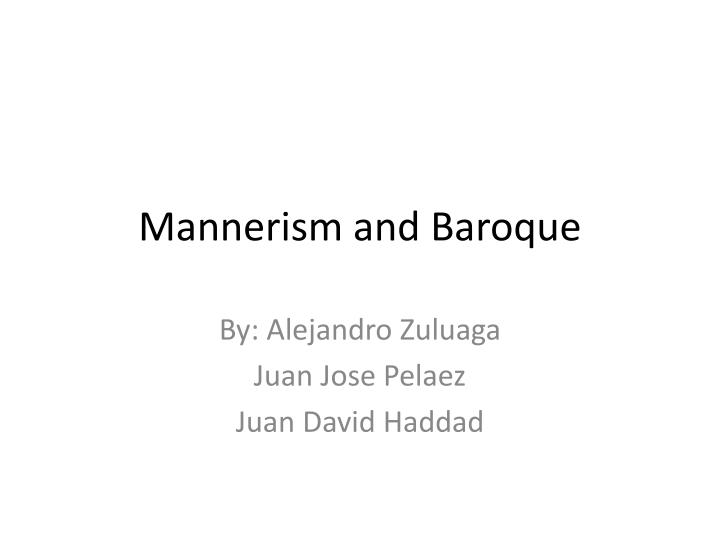 mannerism and baroque n.