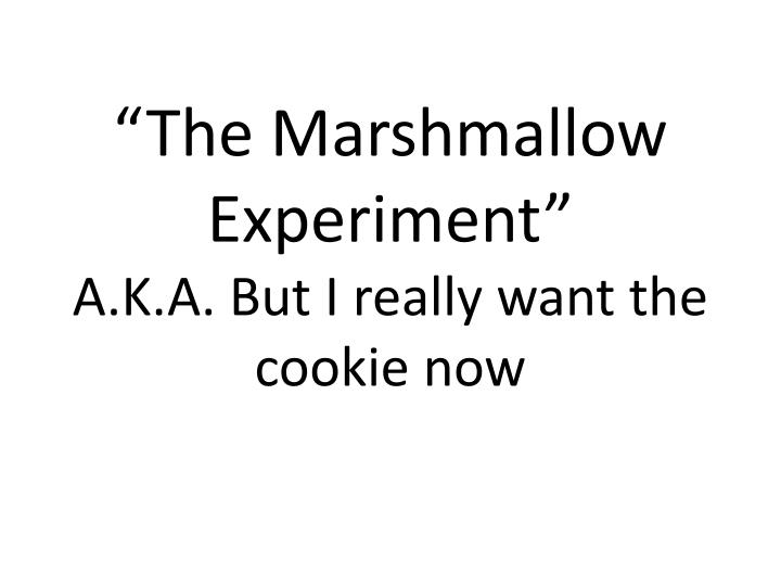 the marshmallow experiment a k a but i really want the cookie now n.