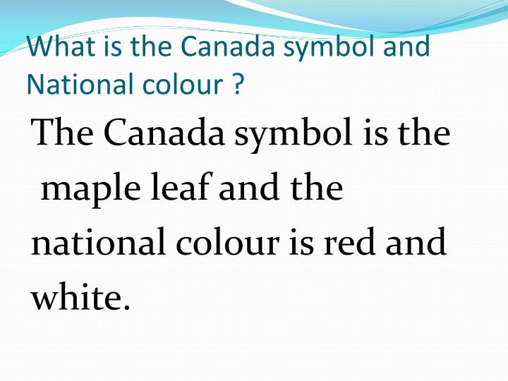 What is the Canada symbol and National colour ?