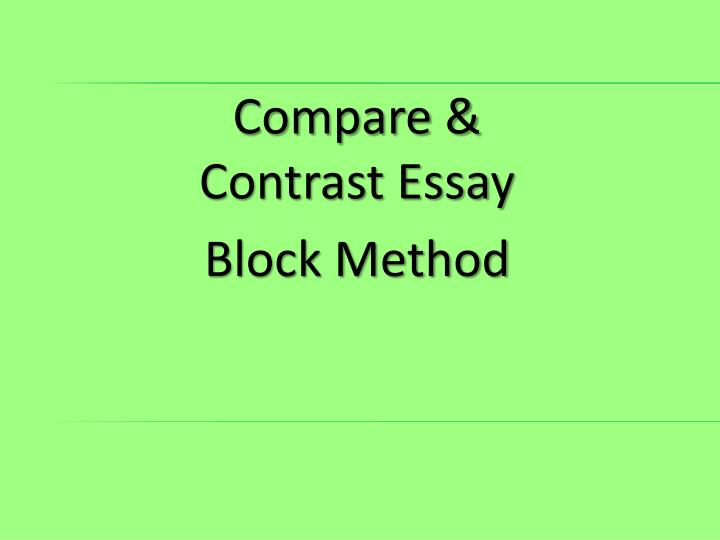 Comparing and contrasting two essays