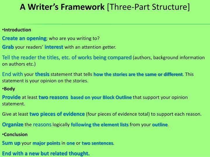 A Writer's Framework