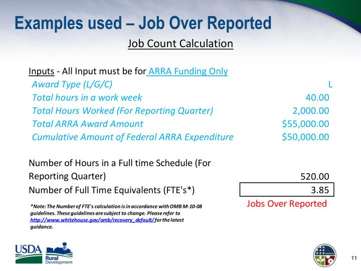 Examples used – Job Over Reported