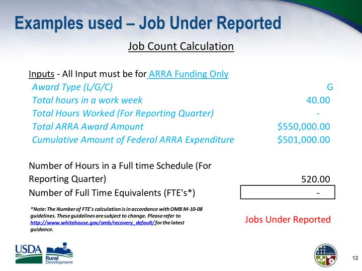 Examples used – Job Under Reported