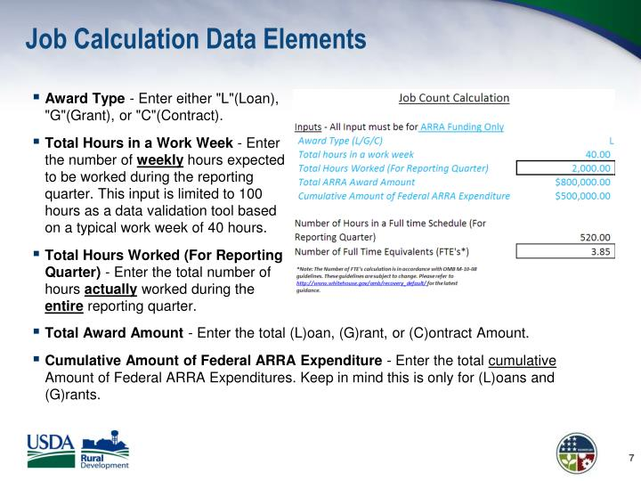 Job Calculation Data Elements