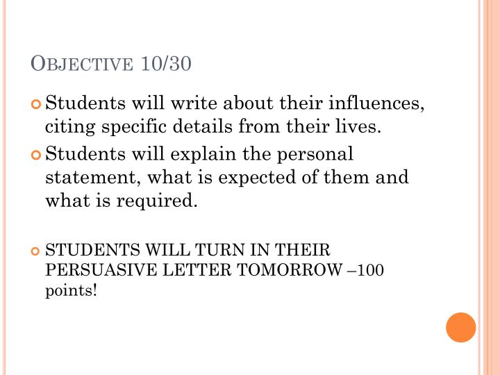 Objective 10 30