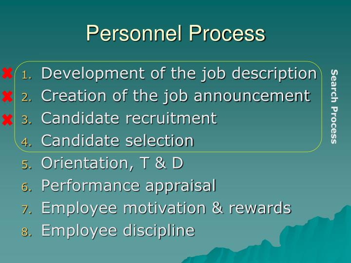 personnel process n.