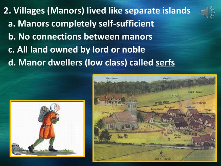 2. Villages (Manors) lived like separate islands
