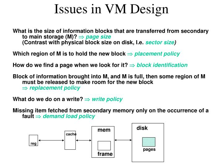 Issues in VM Design