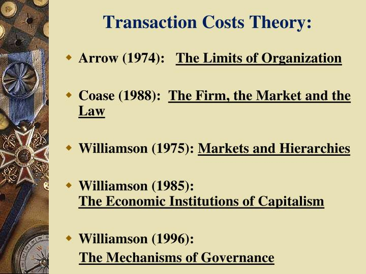 the importance of transaction cost theory Transaction cost, cost inflation, expectations theory, capacity cost, marginal productivity theory of distribution, keynesian theory, media system dependency theory, theory x and theory y, market segmentation theory, endogenous growth theory.