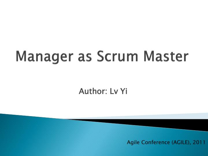 manager as scrum master n.