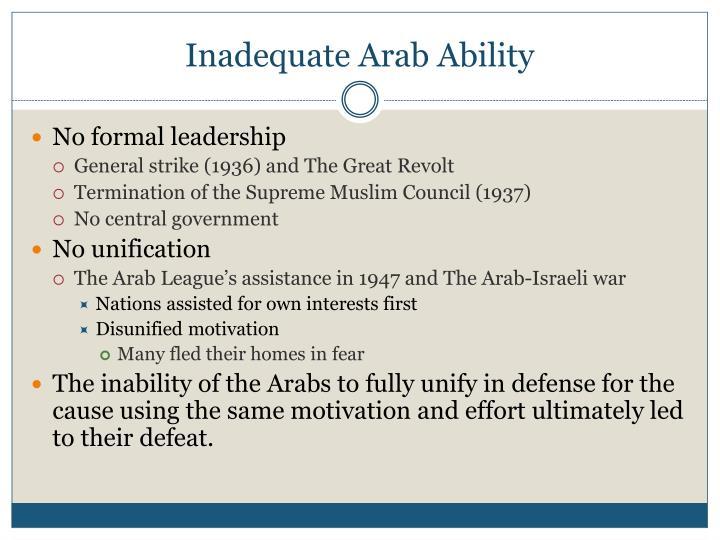 Inadequate Arab Ability