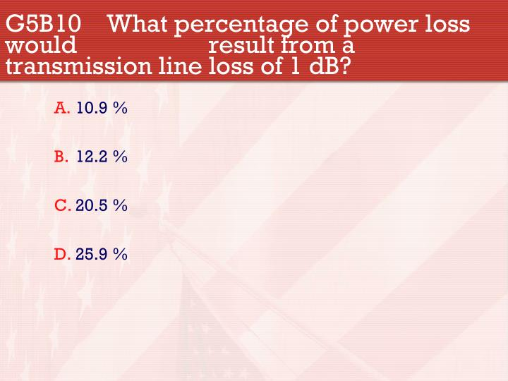 G5B10 What percentage of power loss would result from a transmission line loss of 1 dB?