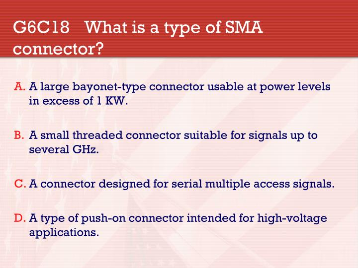 G6C18What is a type of SMA connector?