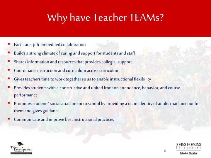 Why have Teacher TEAMs?