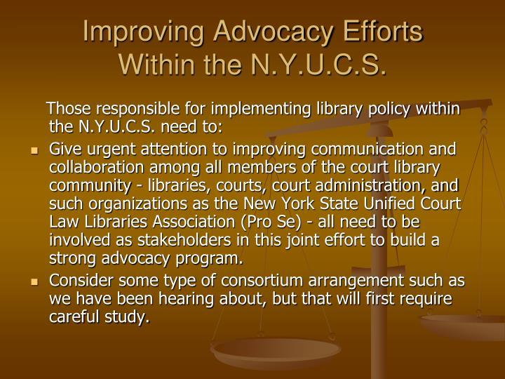 Improving Advocacy Efforts