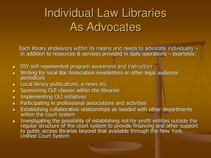 Individual Law Libraries