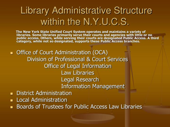 Library Administrative Structure within the N.Y.U.C.S.